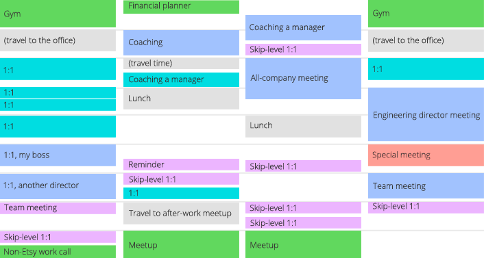 Color-coded calendar
