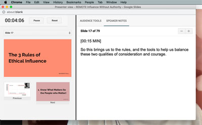 Screenshot of presenter notes on a Mac desktop, with slide previews on the left. The presenter notes window is attached to the top toolbar of the screen and hiding all the other windows behind it.