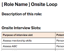 worksheet onsite interview loop
